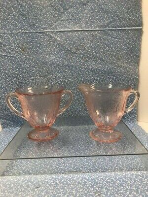 Vintage PINK Depression Glass Pedestal Creamer and Sugar Bowl Set Etched Flowers