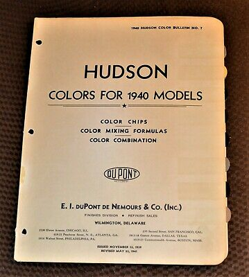 VTG Dupont De Nemours Color Chip Hudson 1940 1941 1946 1947 Choice