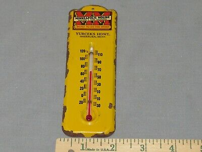 Vintage Minneapolis Moline Thermometer SHERBURN, MN early Small Size! 1930s MM