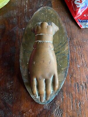 ANTIQUE VICTORIAN BRASS HAND DOOR KNOCKER COMPLETE With Plate