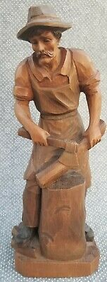 "Vintage Hand Carved Woodcutter Sculpture Chopping Ax Figure 10"" German"