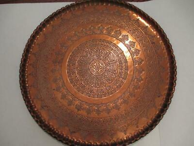 LARGE 26'' Engraved Mid-century Modern Brass Coffee Table Top Tray Wall Decor