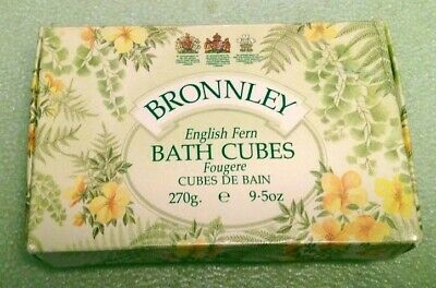 VINTAGE BRONNLEY ENGLISH FERN BATH CUBES SET OF 6 NIB 270gms/9.5oz ~ ENGLAND NOS