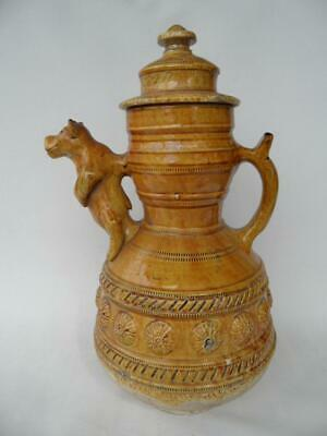 Rare Antique French Pottery Majolica Large Display Jug Bear Spout