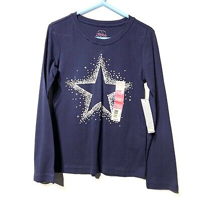 faded glory girls long sleeve navy blue silver star shirt size XS extra small