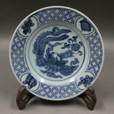 Chinese ancient antique hand make Blue and white PLATE Porcelain decoration F2
