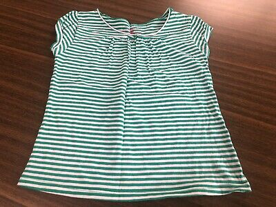 Marks & Spencer Girls Green & White Striped T-Shirt - AGE 8 YRS