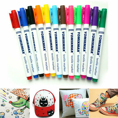 12 Multicolors Permanent Fabric Textile Markers Pens Craft Clothes T-Shirts UK
