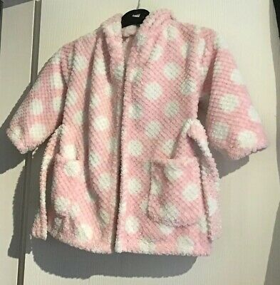 Little Girls Pink White Dressing Gown Aged 2-3