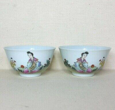 Antique A pair of Chinese porcelain bowls with enamel, 19th-20th century.