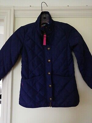 Girls Navy Blue Quilted JOULES Coat / Jacket Age 8 Years