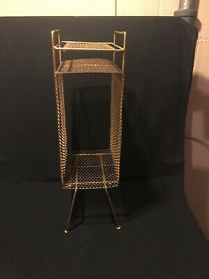 Mid Century Vintage Metal Wire Mesh Telephone Book Magazine Stand Gold