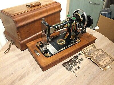 Stoewer Vintage Sewing machine with accessories and Instruction Manual,