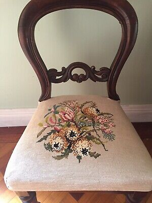 4 x Antique Vintage TAPESTRY Needlepoint CHAIR COVERS, Seat Cushion Pillow Cover