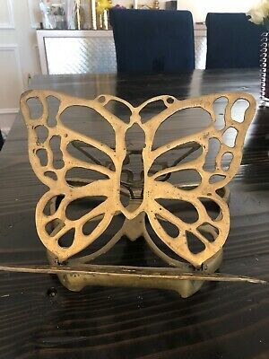 Brass Butterfly Book Holder Stand Solid Brass Bible Cookbook Display Excellent