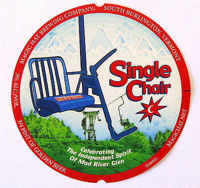 SINGLE CHAIR SPRING SEASONAL Beer STICKER Label Magic Hat Brewing VERMONT SKIING