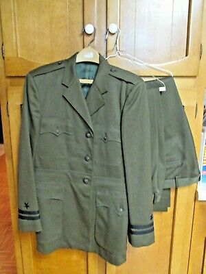 Vintage U S Navy Officer Aviation Working Green Uniform with 2 Pair of Pants