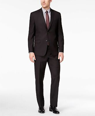 $500 Andrew Marc Men's Classic Fit Stretch Black Micro-Grid Suit 42S / 35 x 30