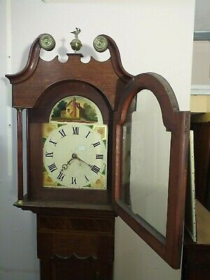 30 HOUR longcase clock grandfather ENGLISH oak mahogany trim ANTIQUE circa 1800