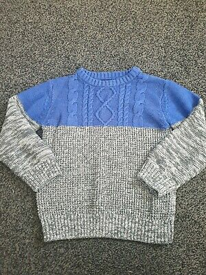 Matalan Age 6-7 Years Cable Knit Style Jumper Sweater Blue Grey