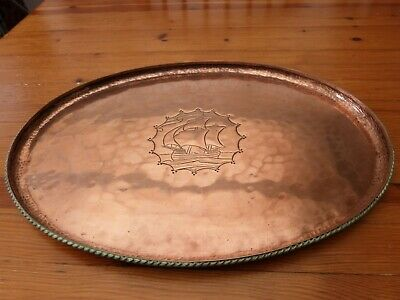 Antique Arts And Crafts Hugh Wallis RA Hand Beaten Copper Tray Ship Design