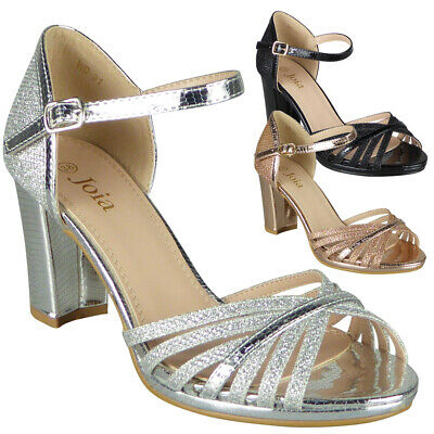 Womens Open Toe Sandals Ladies Glitter Bridal High Heel Party Brides Shoes Size