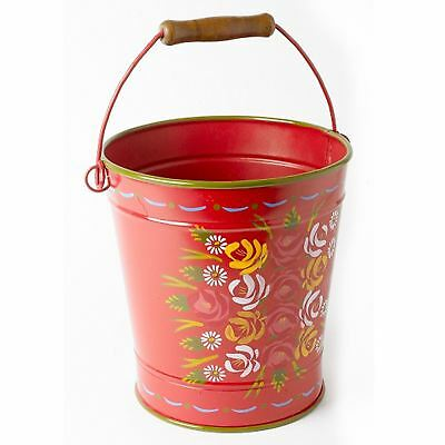 """14"""" Tall Hand Painted Red Garden Narrowboat Style Log Bucket"""