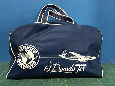 Braniff International Airways Blue Vinyl Airline Flight Bag El Dorado Super Jet