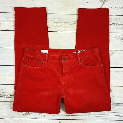 Gap Sexy Boyfriend Corduroy Pants Size 31 Tall Womens Straight Red Silk Orange