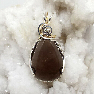 Smoky Quartz, wire-wrapped, necklace, sterling silver,14k gold filled, #1697