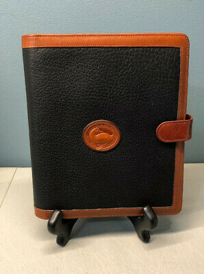 "Vtg Dooney & Bourke All Weather Leather Agenda Planner Address Book 9.5"" x 8"""