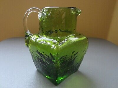 Small Square Hand Blown Green Pitcher with Clear Handle  Pilgrim or Blenko