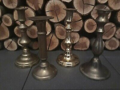 A Nice Mixed Lot of Large Antique/Vintage Brass Candlesticks