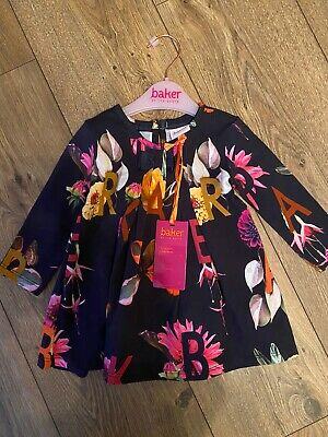 New Ted Baker Baby Girls Long Sleeved Navy Floral Jersey Dress Size 3-6 Months