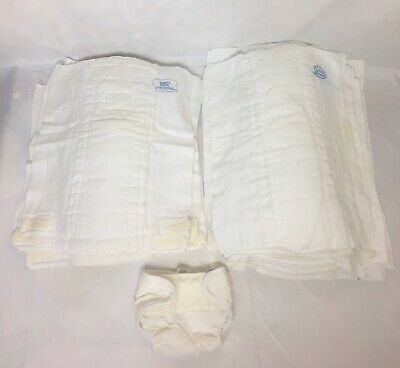Vintage Curity Pinless Cloth Diapers Day Night Lot of 16 White Cotton Diaperaps