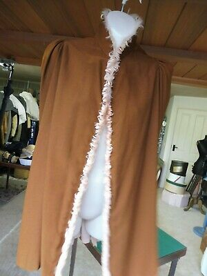 Vintage childs brown cape with silk lining and feather trim, possibly Victorian