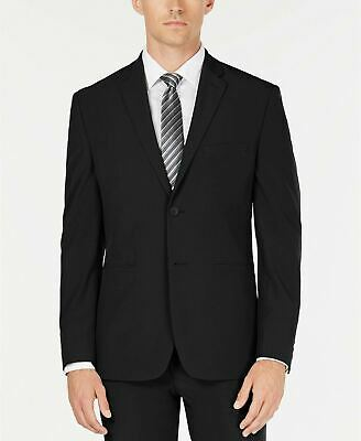 $495 Perry Ellis Black Slim-Fit Stretch Tech Suit Jacket 40R