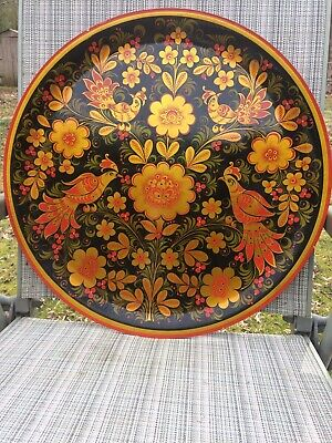 Russian KHOKHLOMA Folk Art Large Wall Plaque Hand Painted Lacquer USSR Vtg 1986
