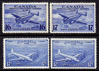 Canada Air Mail Special Delivery #Ce1-Ce4, 1942-46 Set/4, F-Vf, Mint Nh