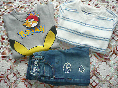 BNWT Next Boys Bundle/ Pikachu T-shirt/ Jeans/ Striped Long Sleeved Top/ Age 2-4