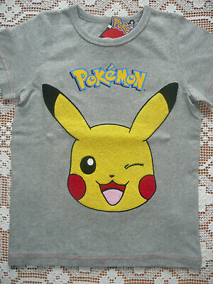 BNWT Next Boys 2x Tops/ Pikachu Grey Top and Stripy Top in Cream & Blue/ Age 4-5