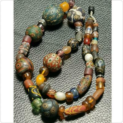 Roman Ancient Mixed Mosaic Glass Beads Amber beads  Necklace   # 140