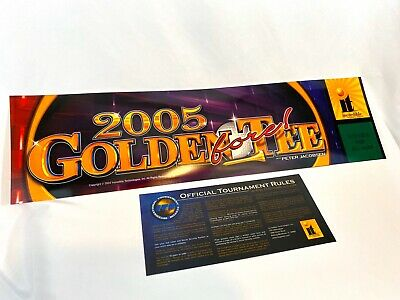 """GOLDEN TEE 2005 GOLF FORE 25 3/4 X 6 3/4"""" arcade Game sign marquee + Rules Sign"""