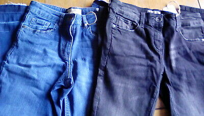 Next BNWT 2 Pairs of Girls Jeans (Blue Ankle Length+Black Rip-Knee Jeans) Age 10