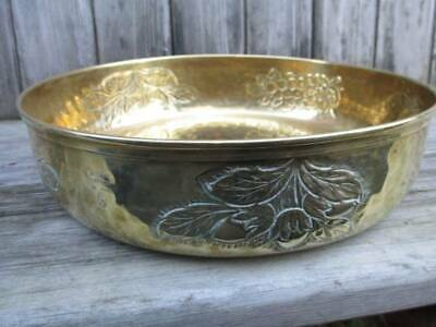Arts & Crafts brass or copper centrepiece bowl with foliage detail. Signed.