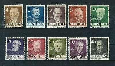Germany Berlin 1952 Famous Berliners full set of stamps. Used. Sg B91-100