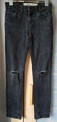 BOYS Black Denim Ripped Jeans, Skinny Fit, 10-11yrs