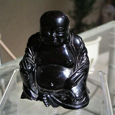 Small Vintage Chinese Cherry Amber  Hand Carved Sitting Buddha, 103.1 Grams