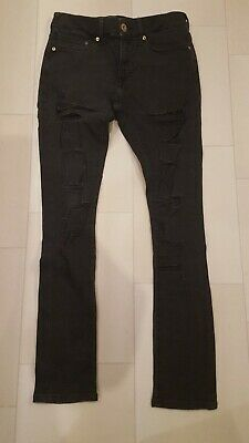 River Island Men's Boys Black Skinny Stretch Distressed Ripped Jeans Size 26/30