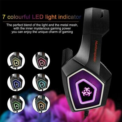 PC Gaming Headset With Mic Noise Cancelling Over Ear Headphone LED Bass Surround